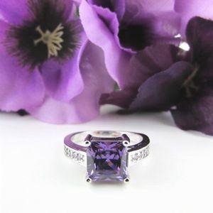 Jewelry - Purple CZ Princess Cut Sterling Silver Ring 9.25